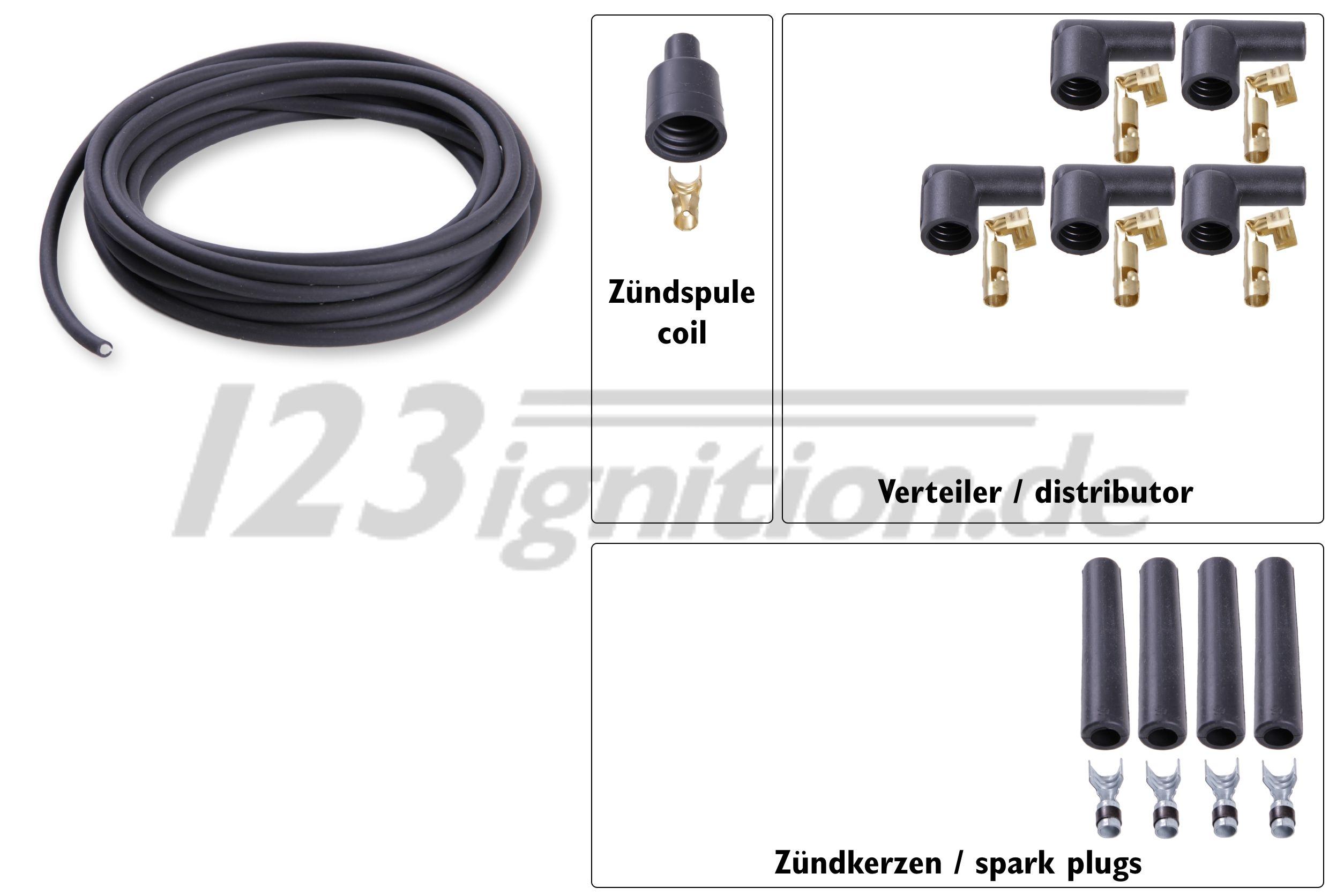 Hochleistungszündkabelsatz für 4 Zylinder Motoren, 7 mm in schwarz, gerade Zündkerzenstecker, gewinkelte Verteilerstecker, gerader Zündspulenstecker