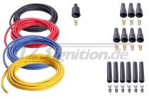 high performance ignition cable set for 6 cylinder engines, 8 mm in black, red, blue and yellow