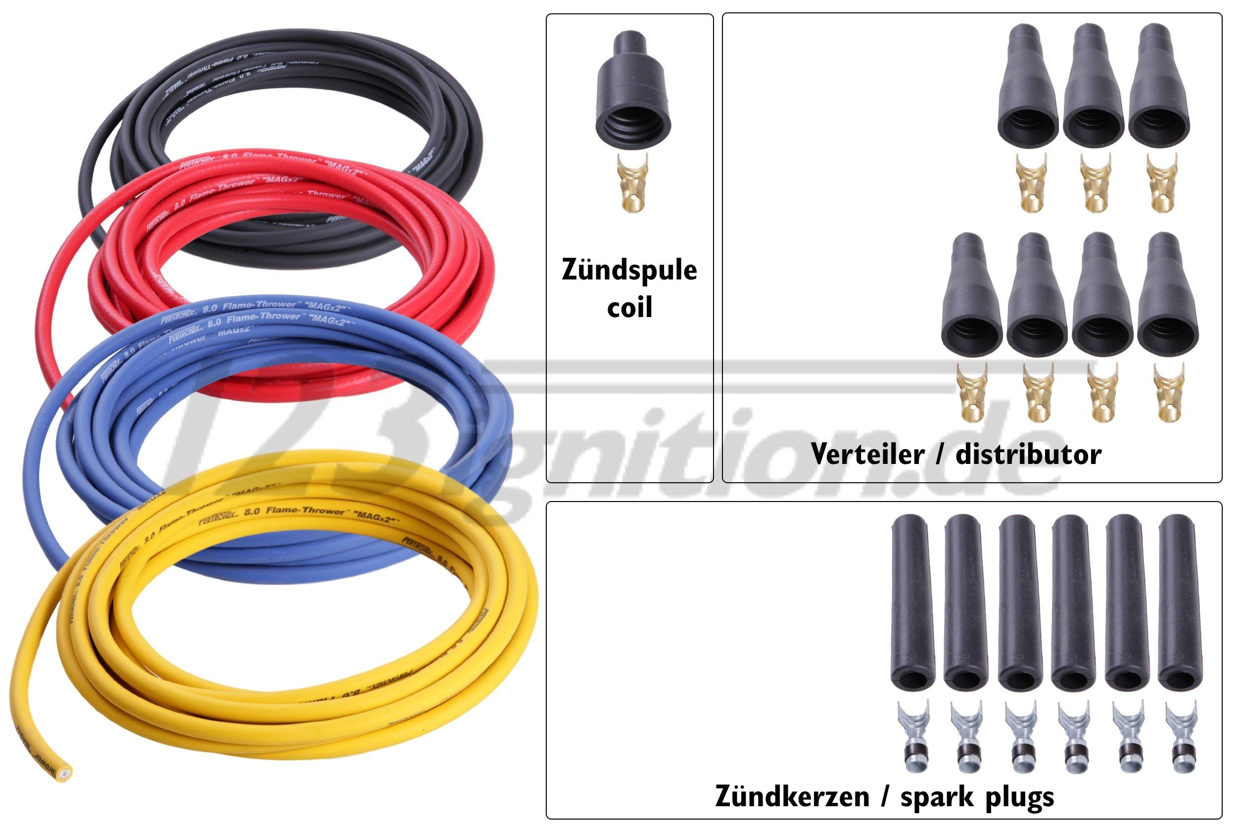 Hochleistungszündkabelsatz für 6 Zylinder Motoren, 8 mm in schwarz, rot, blau und gelb, gerade Zündkerzenstecker, gerade Verteilerstecker, gerader Zündspulenstecker